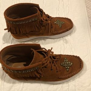 Brown Moccasin Booties with Fringe